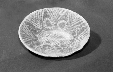 <em>Decorated Oval Bowl</em>, ca. 3800-3500 B.C.E. Clay, 2 3/16 x 5 7/8 x 7 1/2 in. (5.5 x 15 x 19 cm). Brooklyn Museum, Charles Edwin Wilbour Fund, 07.447.1374. Creative Commons-BY (Photo: Brooklyn Museum, 07.447.1374_bw.jpg)