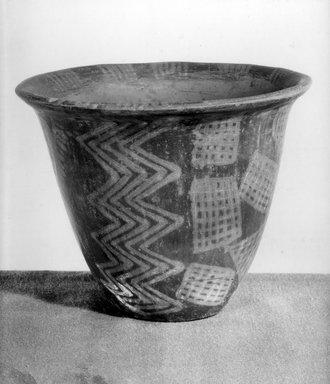 <em>Bowl: Lotus-Flower Shaped</em>, ca. 3800-3500 B.C.E. Clay, pigment, 5 9/16 x Diam. 6 3/4 in. (14.1 x 17.1 cm). Brooklyn Museum, Charles Edwin Wilbour Fund, 07.447.398. Creative Commons-BY (Photo: Brooklyn Museum, 07.447.398_view1_print_bw.jpg)
