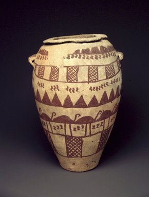 <em>Jar with Two Tubular String-Hole Handles</em>, ca. 3500-3300 B.C.E. Clay, pigment, 8 1/16 x Greatest Diam. 6 in. (20.4 x 15.3 cm). Brooklyn Museum, Charles Edwin Wilbour Fund, 07.447.441. Creative Commons-BY (Photo: Brooklyn Museum, 07.447.441_transp5401.jpg)