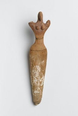 <em>Figurine of Woman</em>, ca. 3500-3300 B.C.E. Terracotta, pigment, 8 3/4 x 1 15/16 x Depth at hips 1 9/16 in. (22.2 x 5 x 4 cm). Brooklyn Museum, Charles Edwin Wilbour Fund, 07.447.504. Creative Commons-BY (Photo: Brooklyn Museum, 07.447.504_PS2.jpg)