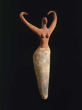 <em>Female Figure</em>, ca. 3500-3400 B.C.E. Clay, pigment, 11 1/2 x 5 1/2 x 2 1/4 in. (29.2 x 14 x 5.7 cm). Brooklyn Museum, Charles Edwin Wilbour Fund, 07.447.505. Creative Commons-BY (Photo: Brooklyn Museum, 07.447.505_SL1.jpg)