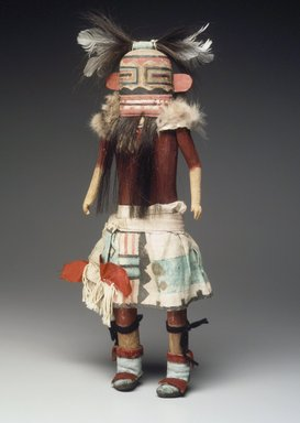 She-we-na (Zuni Pueblo). <em>Kachina Doll (Helele)</em>, late 19th century. Wood, feather, cotton, fur, pigment, hair, hide, 15 3/8 x 5 7/16 x 2 1/4 in. (39.1 x 13.8 x 5.7 cm). Brooklyn Museum, Museum Expedition 1907, Museum Collection Fund, 07.467.8417. Creative Commons-BY (Photo: Brooklyn Museum, 07.467.8417.jpg)