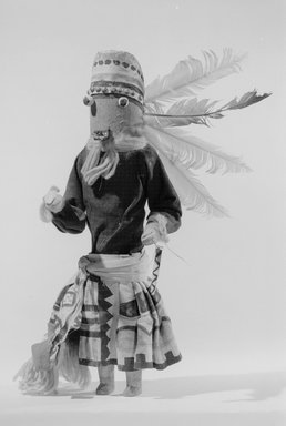 She-we-na (Zuni Pueblo). <em>Kachina Doll (Ma-hey-ten-na-sha)</em>, late 19th century. Wood, cloth, hide, yarn, string, feather, 5 13/16 x 3 7/16 x 12 3/8 in. (14.8 x 8.7 x 31.4 cm). Brooklyn Museum, Museum Expedition 1907, Museum Collection Fund, 07.467.8430. Creative Commons-BY (Photo: Brooklyn Museum, 07.467.8430_acetate_bw.jpg)