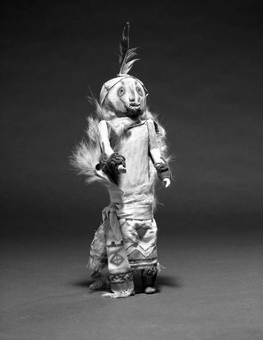 She-we-na (Zuni Pueblo). <em>Kachina Doll (Aseh Tasha)</em>, late 19th century. Wood, paint, feathers, fur, 11 x 3 1/8 x 3 in. (28 x 8 x 7.6 cm). Brooklyn Museum, Museum Expedition 1907, Museum Collection Fund, 07.467.8433. Creative Commons-BY (Photo: Brooklyn Museum, 07.467.8433_bw.jpg)
