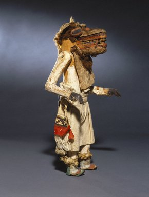 She-we-na (Zuni Pueblo). <em>Kachina Doll (Ainshi Koko)</em>, late 19th century. Wood, pigment, cotton, hair, hide, yucca, resinous material, 14 1/2 x 7 x 5 1/2 in. (36.8 x 17.8 x 14 cm). Brooklyn Museum, Museum Expedition 1907, Museum Collection Fund, 07.467.8440. Creative Commons-BY (Photo: Brooklyn Museum, 07.467.8440_SL1.jpg)