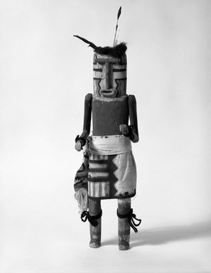 She-we-na (Zuni Pueblo). <em>Kachina Doll (Hahaah)</em>, late 19th century. Wood, feather, cotton, fur, 14 9/16 x 4 1/2 x 3 7/8in. (37 x 11.5 x 9.8cm). Brooklyn Museum, Museum Expedition 1907, Museum Collection Fund, 07.467.8447. Creative Commons-BY (Photo: Brooklyn Museum, 07.467.8447_bw.jpg)