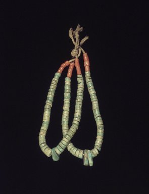 Manta (She-we-na (Zuni Pueblo)). <em>Pair of Earrings</em>, early 20th century. Turquoise, coral, cotton string, 3 1/4 x 3/16 in. (8.3 x 0.5 cm). Brooklyn Museum, Museum Expedition 1907, Museum Collection Fund, 07.467.8454.1a-b. Creative Commons-BY (Photo: Brooklyn Museum, 07.467.8454.1.jpg)