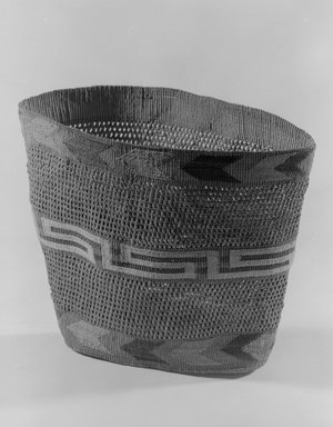 Tlingit. <em>Basket</em>, 1868-1900. Spruce root, 9 5/8 x 5 11/16 x 7 1/2 in. (24.4 x 14.4 x 19.1 cm). Brooklyn Museum, By exchange, 07.468.9384. Creative Commons-BY (Photo: Brooklyn Museum, 07.468.9384_acetate_bw.jpg)