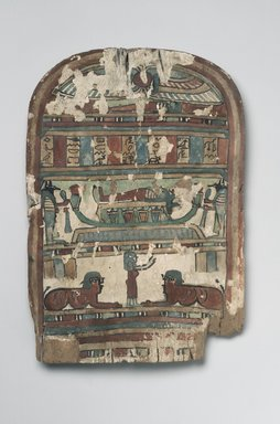 <em>Funerary Stela</em>, 332 B.C.E.-395 C.E. Wood, plaster, pigment, 14 9/16 x 10 1/16 x 15/16 in. (37 x 25.6 x 2.4 cm). Brooklyn Museum, 07.469. Creative Commons-BY (Photo: Brooklyn Museum, 07.469.jpg)