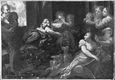 Pietro Dandini (Italian, Florentine, 1646-1712). <em>Death of Queen Dido</em>, second half 17th century. Oil on canvas, 20 x 28 1/2 in. (50.8 x 72.4 cm). Brooklyn Museum, Gift of Francis Gottsberger in memory of his wife, Eliza, 08.196 (Photo: Brooklyn Museum, 08.196_bw.jpg)