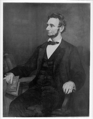 American. <em>Abraham Lincoln</em>, after 1860-1890. Oil on canvas, 49 5/16 x 38 3/16 in. (125.3 x 97 cm). Brooklyn Museum, Caroline H. Polhemus Fund, 08.217 (Photo: Brooklyn Museum, 08.217_glass_bw_SL1.jpg)