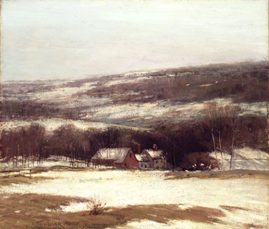 Alexander Theobald van Laer (American, 1857-1920). <em>Winter Landscape</em>, ca. 1907. Oil on canvas, 32 3/16 x 27 15/16 in. (81.8 x 71 cm). Brooklyn Museum, Gift of George A. Hearn, 08.218 (Photo: Brooklyn Museum, 08.218_transp3272.jpg)