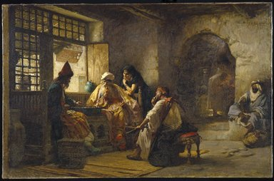 Frederick Arthur Bridgman (American, 1847-1928). <em>An Interesting Game</em>, 1881. Oil on canvas, 37 3/16 x 57 11/16 in. (94.4 x 146.6 cm). Brooklyn Museum, Gift of George D. Pratt in memory of Mrs. Charles Pratt, 08.220 (Photo: Brooklyn Museum, 08.220_SL1.jpg)