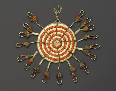 Arapaho. <em>Pouch</em>, late 19th or early 20th century. Hide, beads, porcupine quills, deer hooves, sinew, fiber threading, 5 1/8 x 5 1/8 in. (13 x 13 cm). Brooklyn Museum, Brooklyn Museum Collection, 08.434. Creative Commons-BY (Photo: Brooklyn Museum, 08.434_PS1.jpg)