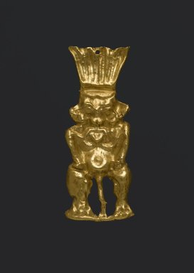 <em>Standing Figure of Bes</em>, 664-30 B.C.E. Gold, 1 1/2 x 9/16 x 1/16 in. (3.8 x 1.4 x 0.2 cm). Brooklyn Museum, Charles Edwin Wilbour Fund, 08.480.208. Creative Commons-BY (Photo: Brooklyn Museum, 08.480.208_front_PS2.jpg)