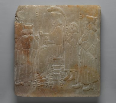 <em>Archaizing Relief of a Seated King and Attendants</em>, late 19th century. Alabaster, carved, 11 3/4 x 10 7/8 in. (29.8 x 27.7 cm). Brooklyn Museum, Charles Edwin Wilbour Fund, 08.480.224. Creative Commons-BY (Photo: Brooklyn Museum, 08.480.224_PS2.jpg)