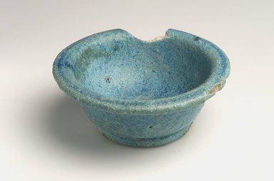 Roman. <em>Bowl</em>, by 30 B.C.E. Faience, 1 9/16 x Diam. 3 7/8 in. (3.9 x 9.8 cm). Brooklyn Museum, Charles Edwin Wilbour Fund, 08.480.226. Creative Commons-BY (Photo: Brooklyn Museum, 08.480.226_view2.jpg)