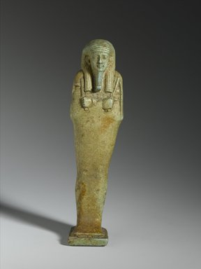 <em>Faience Ushabti of P3 - Dpp</em>, 664-525 B.C.E. Faience, Height: 4 7/8 in. (12.4 cm). Brooklyn Museum, Charles Edwin Wilbour Fund, 08.480.7. Creative Commons-BY (Photo: Brooklyn Museum, 08.480.7_front_PS1.jpg)