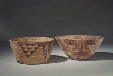"Amanda Wilson (Maidu, ca. 1860-1946). <em>Coiled Cooking Basket (Bush-ka) with ""Valley-Quail Topknot"" (Shu-shu) and ""Grape Leaves"" (Ba-hu) Patterns</em>, 1860-1909. Sedge root, briar root, willow shoot (?), 6 3/4 x 13 1/4 in. (17.1 x 33.7 cm). Brooklyn Museum, Museum Expedition 1908, Museum Collection Fund, 08.491.8679. Creative Commons-BY (Photo: , 08.491.8679_08.491.8683.jpg)"