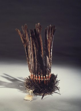 Billy Preacher (Maidu). <em>Man's Ceremonial Dance Headdress</em>, late 19th century. Magpie feather, red-shafted flicker quills, goose quills, clamshell beads, glass beads, cotton cord, plant fiber twine, willow rod, 12 x 7 x 8 1/2 in. (30.5 x 17.8 x 21.6 cm). Brooklyn Museum, Museum Expedition 1908, Museum Collection Fund, 08.491.8693. Creative Commons-BY (Photo: Brooklyn Museum, 08.491.8693.jpg)