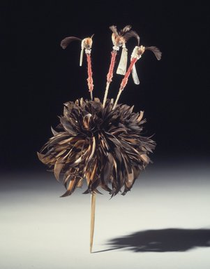 George Barber (Maidu, 1833-1918). <em>Head Plume (Wo-lo-wai-to), One of a Pair</em>, late 19th-early 20th century. Red-shafted flicker feathers, acorn woodpecker scalp feathers, valley-quail topknot feathers, abalone shell, glass beads, oak, iron wire, cotton string, 1 3/16 x 4 5/16 x 12 5/8 in. (3 x 11 x 32.1 cm). Brooklyn Museum, Museum Expedition 1908, Museum Collection Fund, 08.491.8801.1. Creative Commons-BY (Photo: Brooklyn Museum, 08.491.8801.jpg)