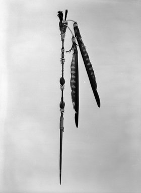 George Barber (Maidu, 1833-1918). <em>Head Plume (Wo-pol-do)</em>, late 19th or early 20th century. Acorn woodpecker scalp, prairie falcon feather, quail topknot, hide, glass beads, cotton string, wool, dye, iron, wood, 16 1/4 x 2 x 1 1/4 in. (41.3 x 5.1 x 3.2 cm). Brooklyn Museum, Museum Expedition 1908, Museum Collection Fund, 08.491.8802. Creative Commons-BY (Photo: , 08.491.8802_bw_SL4.jpg)