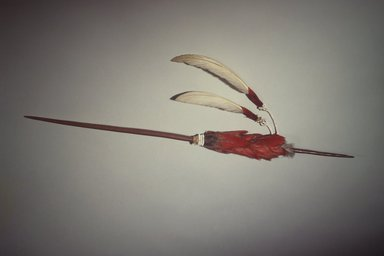 Maidu. <em>Ceremonial Pin (Di-Yo)</em>, late 19th-early 20th century. Manzanita wood, pileated and acorn woodpecker scalp, swan feathers, glass beads, cotton string, 3 x 19 1/4 in. (7.6 x 48.9 cm). Brooklyn Museum, Museum Expedition 1908, Museum Collection Fund, 08.491.8812. Creative Commons-BY (Photo: Brooklyn Museum, 08.491.8812.jpg)