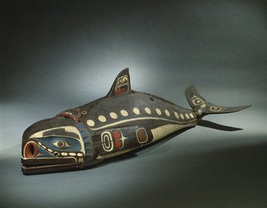 Kwakwaka'wakw. <em>Baleen Whale Mask</em>, 19th century. Cedar wood, hide, cotton cord, nails, pigment, 23 5/8 x 28 1/2 x 81 1/8 in.  (60 x 72.4 x 206 cm). Brooklyn Museum, Museum Expedition 1908, Museum Collection Fund, 08.491.8901. Creative Commons-BY (Photo: Brooklyn Museum, 08.491.8901_SL1.jpg)
