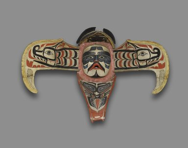 Namgis. <em>Thunderbird Transformation Mask</em>, 19th century. Cedar, pigment, leather, nails, metal plate, Open: 31 x 45 x 47 in. (78.7 x 114.3 x 119.4 cm). Brooklyn Museum, Museum Expedition 1908, Museum Collection Fund, 08.491.8902. Creative Commons-BY (Photo: Brooklyn Museum, 08.491.8902_front_PS6.jpg)