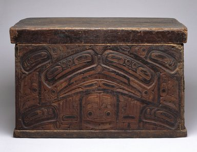 Haida. <em>Carved Trick Chest</em>, 19th century. Cedar wood, pigment, 23 1/4 x 36 x 22 1/4 in. (59.1 x 91.4 x 56.5 cm). Brooklyn Museum, Museum Expedition 1908, Museum Collection Fund, 08.491.8903. Creative Commons-BY (Photo: Brooklyn Museum, 08.491.8903_SL1.jpg)