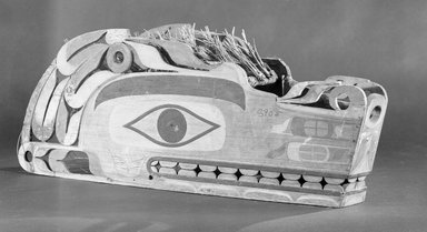 Nuu-chah-nulth (Nootka). <em>Wolf or Sisiutl Mask (One of a Pair)</em>, 19th century. Cedar wood, pigment, plant fiber, cotton string, cloth, iron nails, 10 x 26 1/4 x 8 1/2 in. (25.4 x 66.7 x 21.6 cm). Brooklyn Museum, Museum Expedition 1908, Museum Collection Fund, 08.491.8905a. Creative Commons-BY (Photo: Brooklyn Museum, 08.491.8905a_acetate_bw.jpg)
