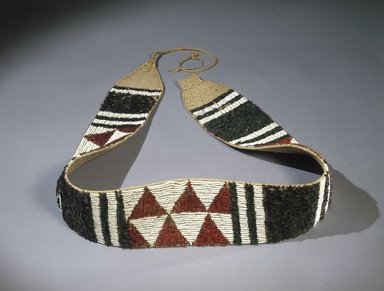 Maidu. <em>Women's Ceremonial Belt (wa-to)</em>, 1855-1870. Bead, mallard duck feather, acorn woodpecker feather, glass, hemp or jute, cotton cordage, 74 1/16 x 4 3/4 in. (188.1 x 12.1 cm). Brooklyn Museum, Museum Expedition 1908, Museum Collection Fund, 08.491.8925. Creative Commons-BY (Photo: Brooklyn Museum, 08.491.8925_SL1.jpg)