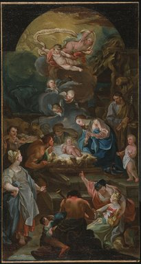Antonio González Velázquez (Spanish, 1723-1794). <em>Adoration of the Shepherds (Adoración de los pastores)</em>, mid 18th century. Oil on canvas, 32 x 17 in. (81.3 x 43.2 cm). Brooklyn Museum, Gift of Francis Gottsberger in memory of his wife, Eliza, 08.500.2 (Photo: Brooklyn Museum, 08.500.2_SL1.jpg)