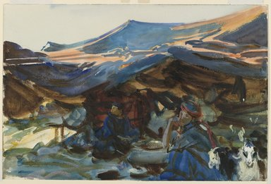 John Singer Sargent (American, born Italy, 1856-1925). <em>Bedouin Women</em>, 1905-1906. Opaque and translucent watercolor with graphite underdrawing, 12 x 18 1/16 in. (30.5 x 45.9 cm). Brooklyn Museum, Purchased by Special Subscription, 09.46 (Photo: Brooklyn Museum, 09.46_PS6.jpg)