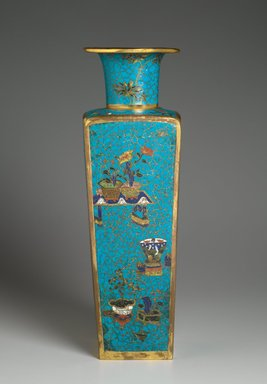 <em>Vase</em>, late 18th century. Cloisonné enamel on copper alloy, 20 9/16 x 6 1/4 in. (52.3 x 15.8 cm). Brooklyn Museum, Gift of Samuel P. Avery, 09.512. Creative Commons-BY (Photo: Brooklyn Museum, 09.512_side1_PS2.jpg)