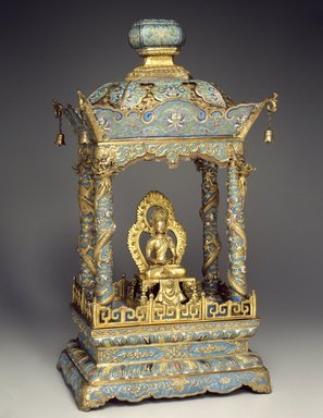 <em>Shrine with an Image of a Bodhisattva</em>, 1736-1795. Shrine: Cloisonné enamel on copper alloy; Image: Copper with semiprecious stones, 25 1/4 x 14 3/8 x 10 5/8 in. (64.1 x 36.5 x 27 cm). Brooklyn Museum, Gift of Samuel P. Avery, Jr., 09.520a-b. Creative Commons-BY (Photo: Brooklyn Museum, 09.520a-b_threequarter_SL3.jpg)