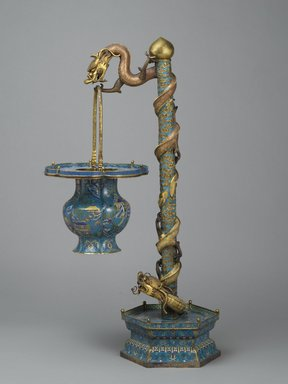 <em>Flower Basket with Stand</em>, late 19th century. Cloisonné enamel on copper alloy, 36 1/2 x 11 1/2 in. (92.7 x 29.2 cm). Brooklyn Museum, Gift of Samuel P. Avery, 09.541a-d. Creative Commons-BY (Photo: Brooklyn Museum, 09.541a-d_PS2.jpg)