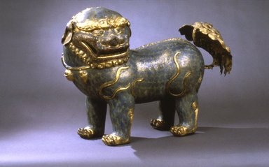 <em>Large Figure of a Lion Dog</em>, 1662-1722. Cloisonné enamel on copper alloy, 17 13/16 × 10 1/2 × 25 in., 42 lb. (45.2 × 26.7 × 63.5 cm, 19.05kg). Brooklyn Museum, Gift of Samuel P. Avery, 09.542. Creative Commons-BY (Photo: Brooklyn Museum, 09.542_view2.jpg)