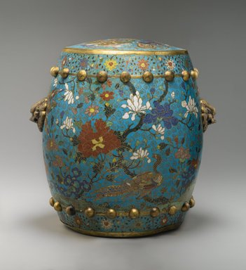 <em>Garden Seat</em>, early 17th century. Cloisonné enamel on copper alloy, 15 3/8 x 16 3/8 in. (39.1 x 41.6 cm). Brooklyn Museum, Gift of Samuel P. Avery, 09.585. Creative Commons-BY (Photo: Brooklyn Museum, 09.585_PS2.jpg)