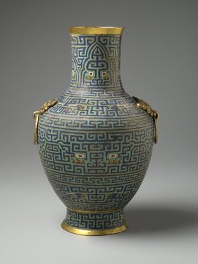 <em>Vase</em>, 18th century. Cloisonné enamel on copper alloy, gilt bronze, 16 1/2 x 10 1/2 x 10 in., 9.5 lb. (41.9 x 26.7 x 25.4 cm, 4.31kg). Brooklyn Museum, Gift of Samuel P. Avery, 09.598. Creative Commons-BY (Photo: Brooklyn Museum, 09.598_side1_PS2.jpg)