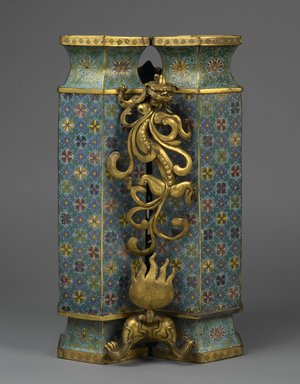 <em>Twin Vases with Carved Stand</em>, 1736-1795. Cloisonné enamel on copper alloy, gilt bronze, 25 1/4 x 15 x 13 in., 74.5 lb. (64.1 x 38.1 x 33 cm, 33.79kg). Brooklyn Museum, Gift of Samuel P. Avery, 09.606a-b. Creative Commons-BY (Photo: Brooklyn Museum, 09.606a-b_side1_PS2.jpg)