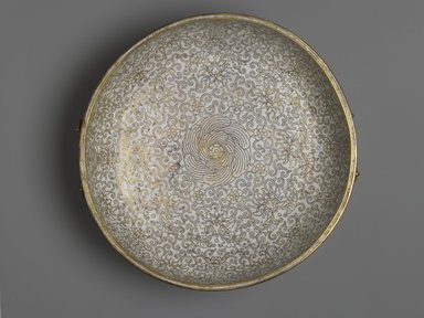 <em>Vessel with Buddhist Symbols</em>, 1736-1795. Cloisonne enamel on copper alloy, 4 1/2 × 15 × 14 in. (11.4 × 38.1 × 35.6 cm). Brooklyn Museum, Gift of Samuel P. Avery, 09.629. Creative Commons-BY (Photo: Brooklyn Museum, 09.629_top_PS2.jpg)
