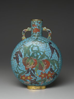 <em>Pilgrim Bottle Vase</em>, early 17th century. Cloisonné enamel on copper alloy, 10 1/4 x 6 11/16 in. (26 x 17 cm). Brooklyn Museum, Gift of Samuel P. Avery, 09.657. Creative Commons-BY (Photo: Brooklyn Museum, 09.657_side1_PS2.jpg)