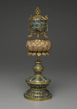 <em>Buddhist Ritual Object in Form of a Canopy on Lotus Base</em>, 1736-1795. Cloisonne enamel on copper alloy, overall: 15 x 4 3/4 in. (38.1 x 12.1 cm). Brooklyn Museum, Gift of Samuel P. Avery, Jr., 09.662. Creative Commons-BY (Photo: Brooklyn Museum, 09.662_PS2.jpg)