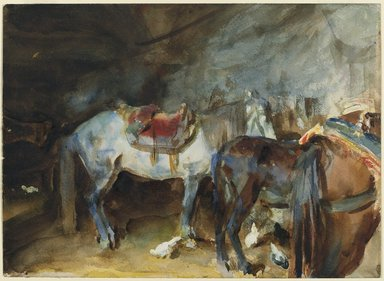 John Singer Sargent (American, born Italy, 1856-1925). <em>Arab Stable</em>, 1905-1906. Translucent and opaque watercolor with graphite underdrawing, 10 7/16 x 14 3/8in. (26.5 x 36.5cm). Brooklyn Museum, Purchased by Special Subscription, 09.808 (Photo: Brooklyn Museum, 09.808_PS6.jpg)