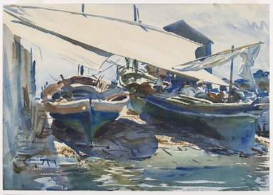 John Singer Sargent (American, born Italy, 1856-1925). <em>Boats Drawn Up</em>, ca. 1908. Translucent watercolor and touches of opaque watercolor with graphite underdrawing, 14 x 19 15/16 in. (35.6 x 50.7 cm). Brooklyn Museum, Purchased by Special Subscription, 09.816 (Photo: Brooklyn Museum, 09.816_PS6.jpg)