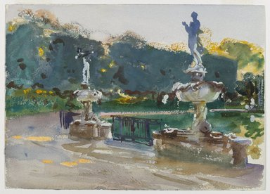 John Singer Sargent (American, born Italy, 1856-1925). <em>Boboli Gardens</em>, ca. 1906. Opaque and translucent watercolor with graphite underdrawing, 10 x 14in. (25.4 x 35.6cm). Brooklyn Museum, Purchased by Special Subscription, 09.818 (Photo: Brooklyn Museum, 09.818_PS6.jpg)