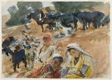 John Singer Sargent (American, born Italy, 1856-1925). <em>Goatherds</em>, 1905-1906. Opaque and translucent watercolor with graphite underdrawing, 10 x 14 in. (25.4 x 35.6 cm). Brooklyn Museum, Purchased by Special Subscription, 09.821 (Photo: Brooklyn Museum, 09.821_PS6.jpg)