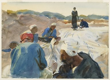 John Singer Sargent (American, born Italy, 1856-1925). <em>Mending a Sail</em>, 1905-1906. Translucent watercolor and touches of opaque watercolor with graphite underdrawing, 10 1/16 x 14 in. (25.6 x 35.5 cm). Brooklyn Museum, Purchased by Special Subscription, 09.830 (Photo: Brooklyn Museum, 09.830_PS6.jpg)
