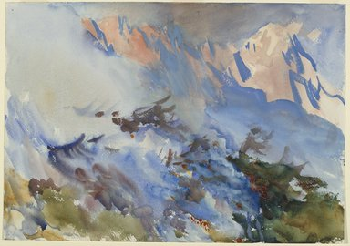 John Singer Sargent (American, born Italy, 1856-1925). <em>Mountain Fire</em>, ca. 1906-1907. Opaque and translucent watercolor, 14 1/16 x 20in. (35.7 x 50.8cm). Brooklyn Museum, Purchased by Special Subscription, 09.831 (Photo: Brooklyn Museum, 09.831_PS6.jpg)
